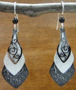 black and white adajio swirl drop earrings