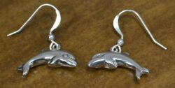 Handmade sterling silver dolphin dangle earrings