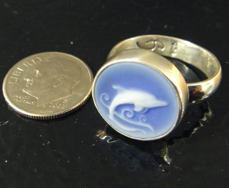 Dolphin cameo sterling silver ring