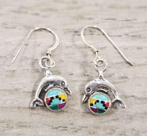 dolphin southwestern style stone inlay earrings