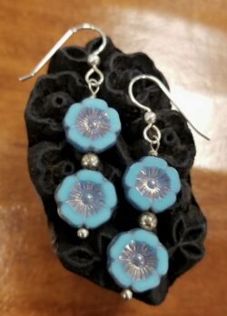 Blue Czech glass double tropical flower drop earrings