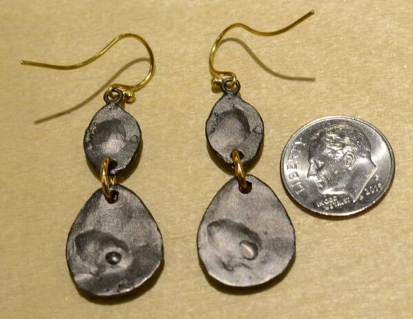 Second nature jewelry double ginkgo leaf pebble dangle earrings back view