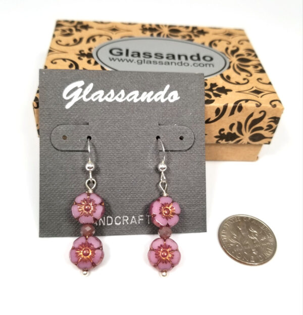 Double purple flower earrings with gift box