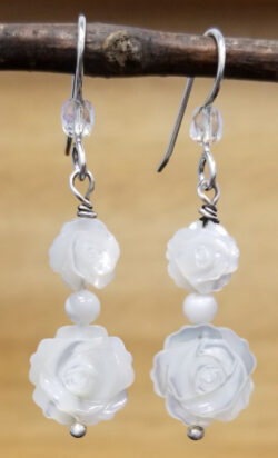 mother of pearl carved rose and sterling silver earrings