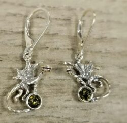 dragon sterling silver and green amber earrings