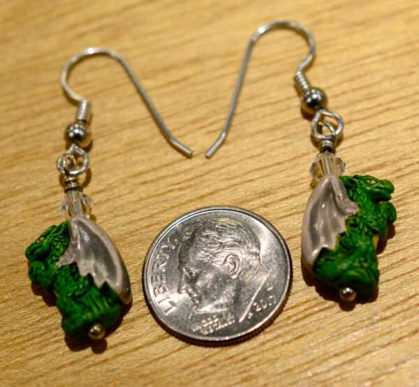 green ceramic bead dragon earrings with dime