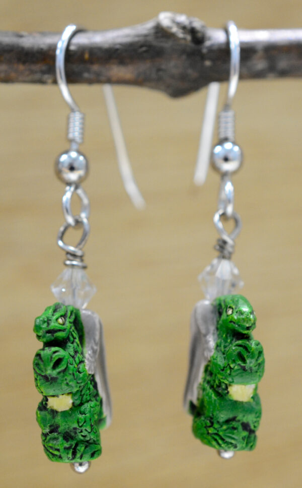 green ceramic bead dragon earrings