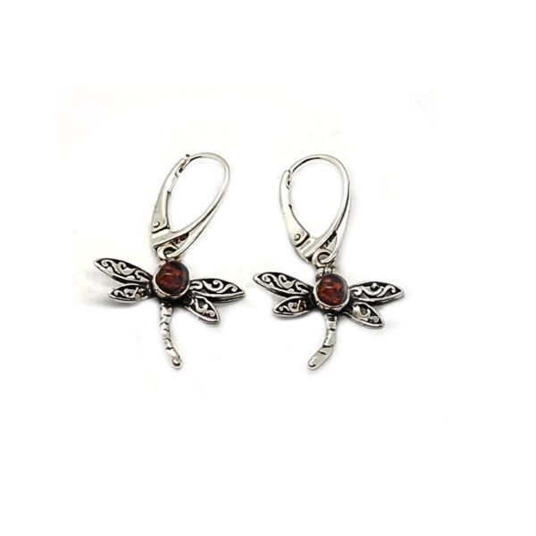 amber and sterling silver dragonfly earrings