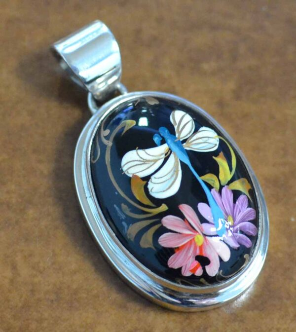 hand painted dragonfly and flower pendant