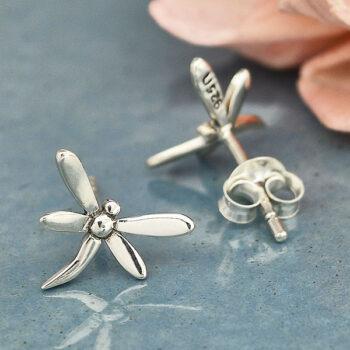 dragonfly petite sterling silver post earrings