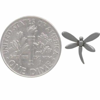 dragonfly post earrings with dime for scale