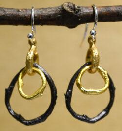 Michael Michaud handmade two tone driftwood dangle earrings