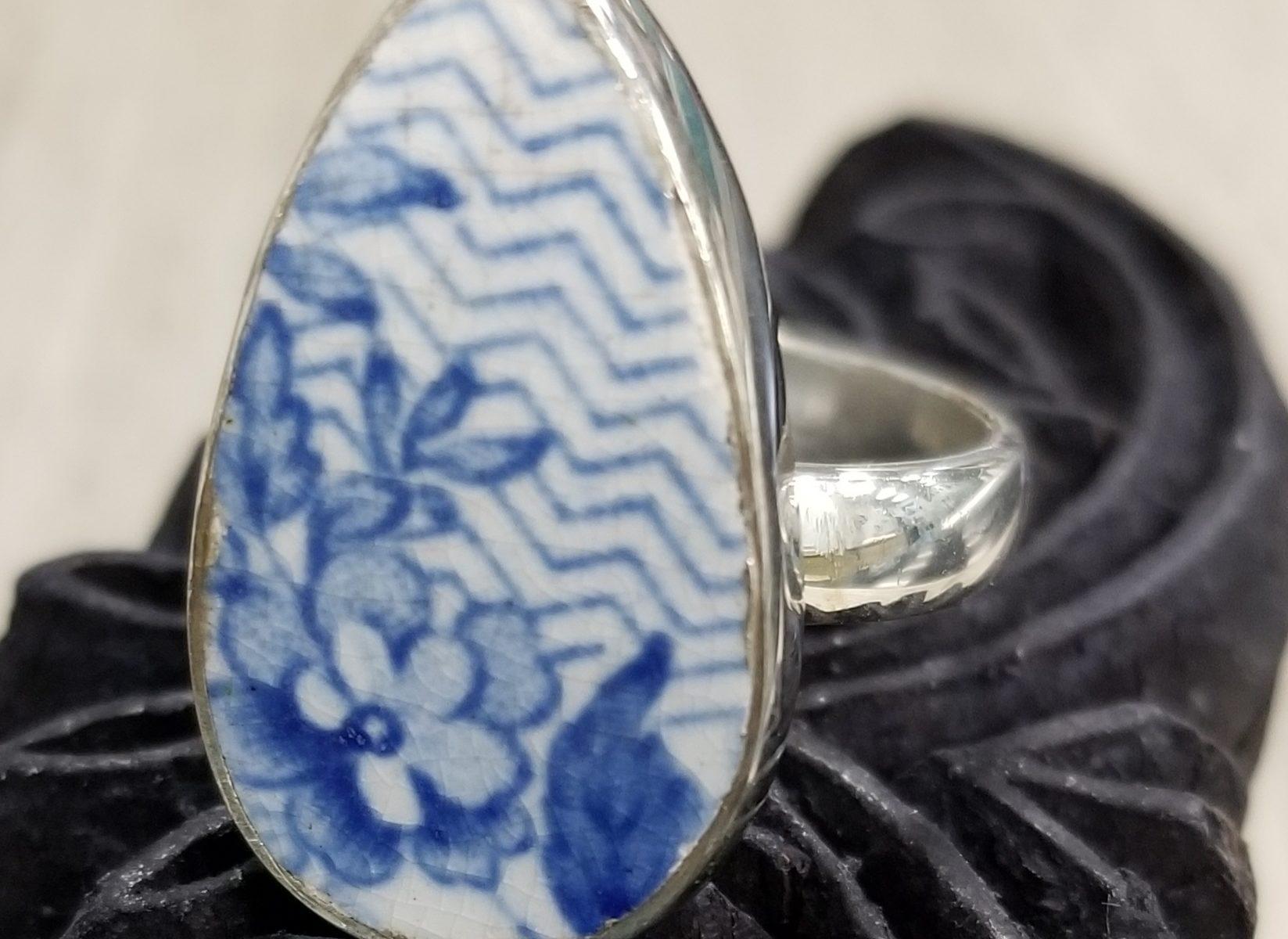 blue and white repurposed ceramic ring