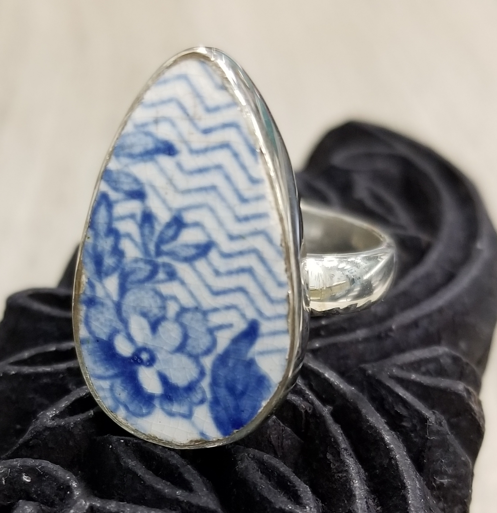 blue and white repurposed ceramic ring