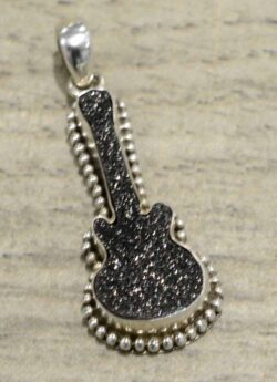 Handmade black druzy guitar and .925 sterling silver pendant