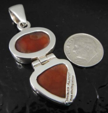 Handmade rough agate druzy and sterling silver pendant back view