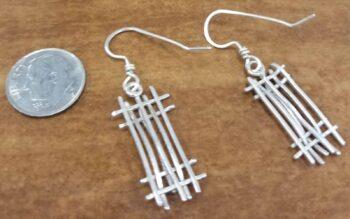 Handmade sterling silver line design dangle earrings back view