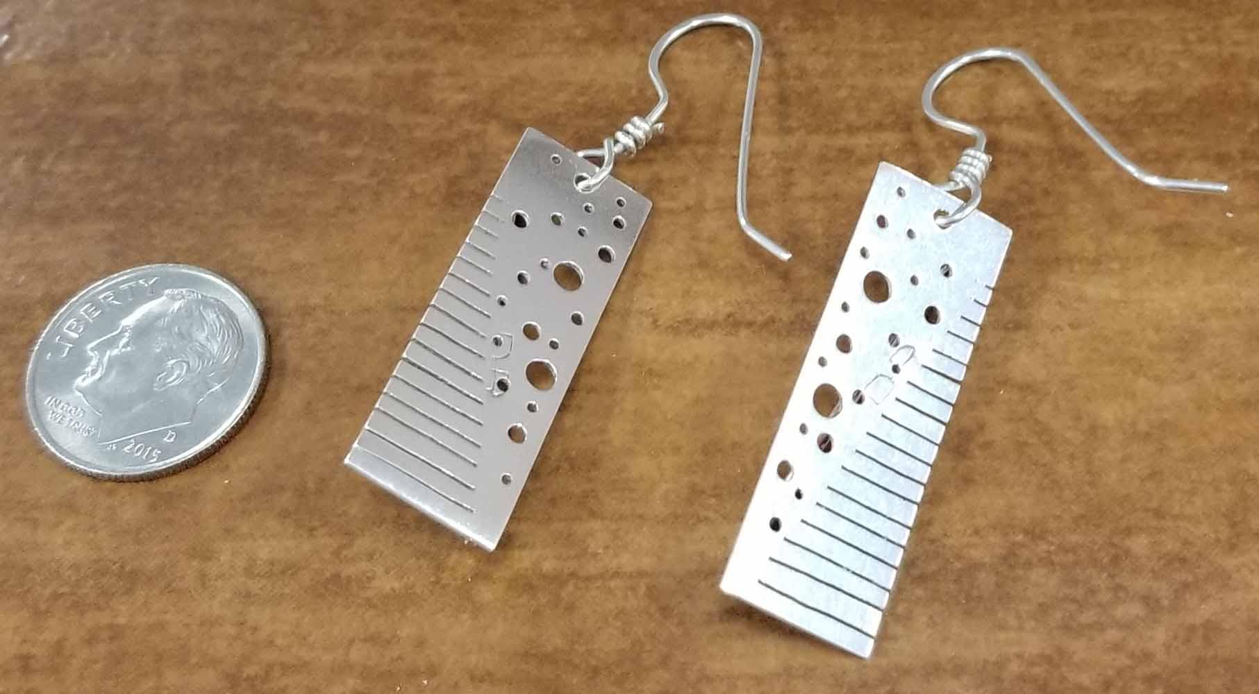 copper + silver modern rectangle handmade long artisan earrings