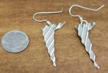 Handmade ripple texture sterling silver dangle earrings back view shown with dime (not included) for scale