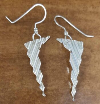 Handmade ripple texture sterling silver dangle earrings by Dale Repp in Lone Tree, Iowa