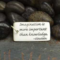Einstein quote sterling silver pendant