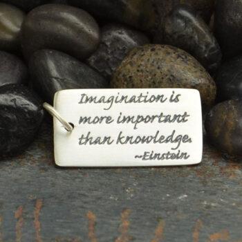 Einstein quote sterling silver pendant