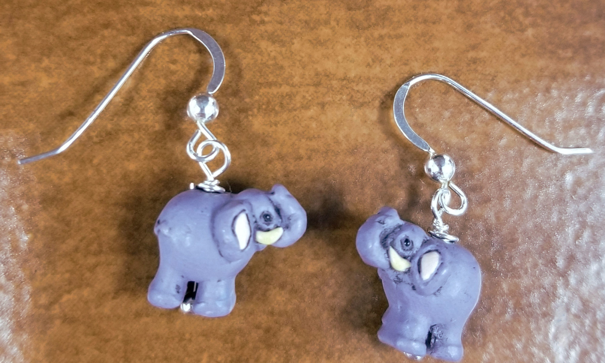 ceramic elephant and sterling silver earrings