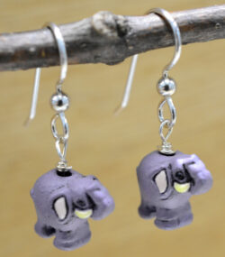handmade purple ceramic elephant dangle earrings