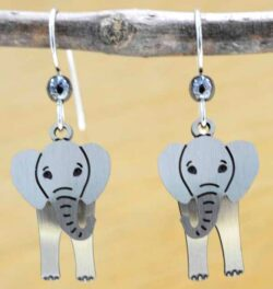 These elephant earrings are handmade by Sienna Sky.