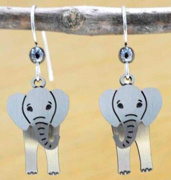 These elephant earrings are handmade by Sienna Sky.