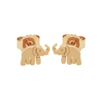 rose gold plated nickel-free sterling silver elephant post earrings with backs