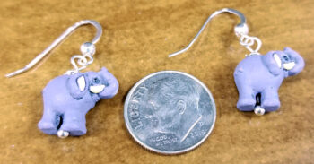 elephant earrings with dime for scale