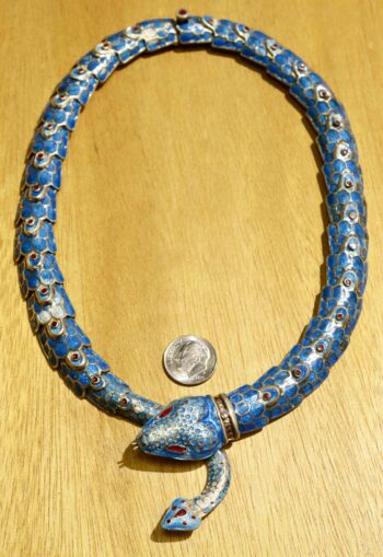 full detailed sterling silver and enamel handmade snake necklace with dime for size