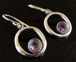 These amethyst and sterling silver earrings are handmade by Sonoma Art Works.