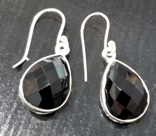 faceted black onyx and sterling silver drop earrings