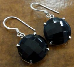 Handmade faceted black onyx and sterling silver drop earrings