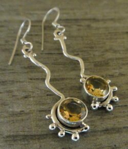 faceted citrine and sterling silver long earrings