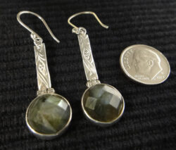 handmade faceted labradorite and sterling silver earrings with dime for size