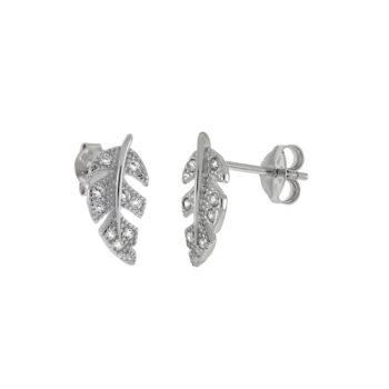 feather CZ earrings