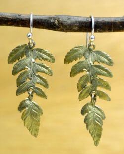 Michael Michaud Silver Seasons fern leaf dangle earrings