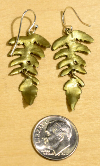 Back of Michael Michaud Silver Seasons fern leaf dangle earrings, shown with dime (not included) for scale