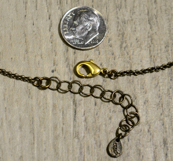 Fern necklace bronze clasp and extender, shown with dime (not included) for scale