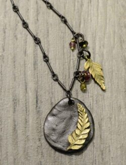 Second Nature jewelry long fern with tourmaline accents necklace