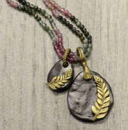Second Nature jewelry fern and tourmaline necklace