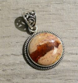 handmade Mexican fire opal and sterling silver circle pendant