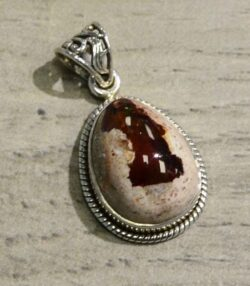 handmade Mexican fire opal and sterling silver drop pendant