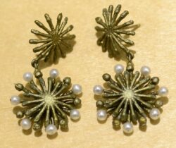 Michael Michaud Silver Seasons long firewheel post earrings