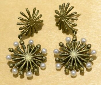 Michael Michaud Silver Seasons long firewheel post earrings