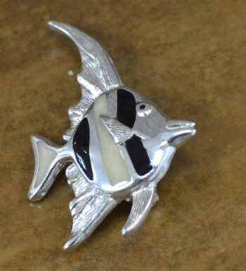Black and white tropical fish enamel and sterling silver pin
