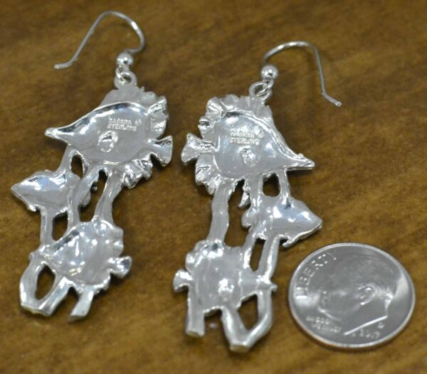 Tropical fish with seaweed enamel and sterling silver earrings back view